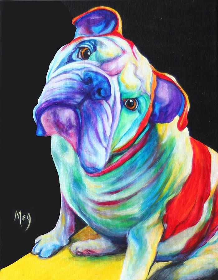 English Bulldog by Meg Keeling Abstract animal art, Dog