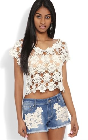 Deb Shops Short Sleeve Crop Top with #Daisy Embroidery $17.92 (just the shirt)