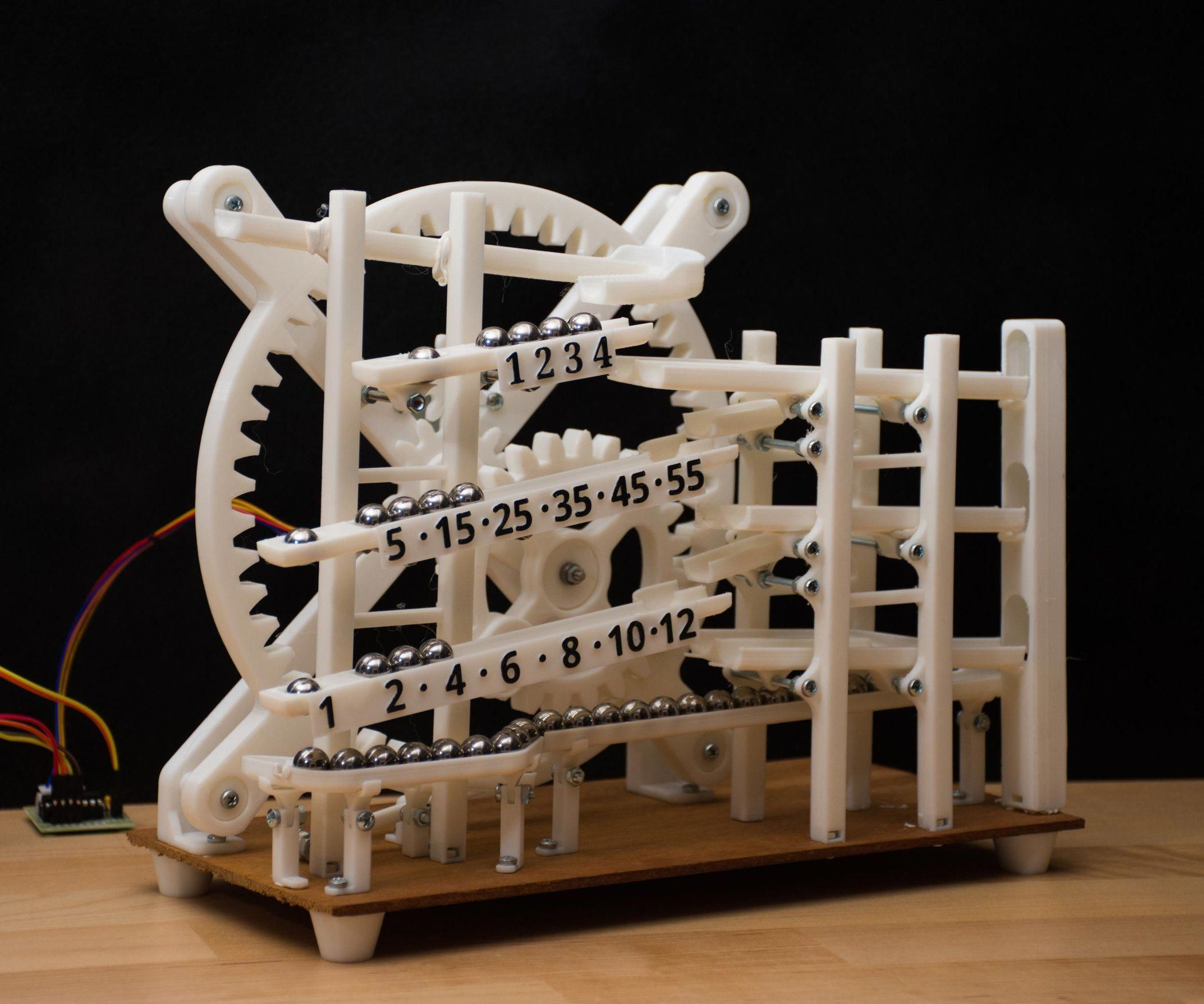Marble Clock Is A 3d Printed Rolling Ball Clock That Tells The Time By The Location Of Marbles Balls It Consists Of 3 Ma Impresora 3d Impresion 3d La Creacion