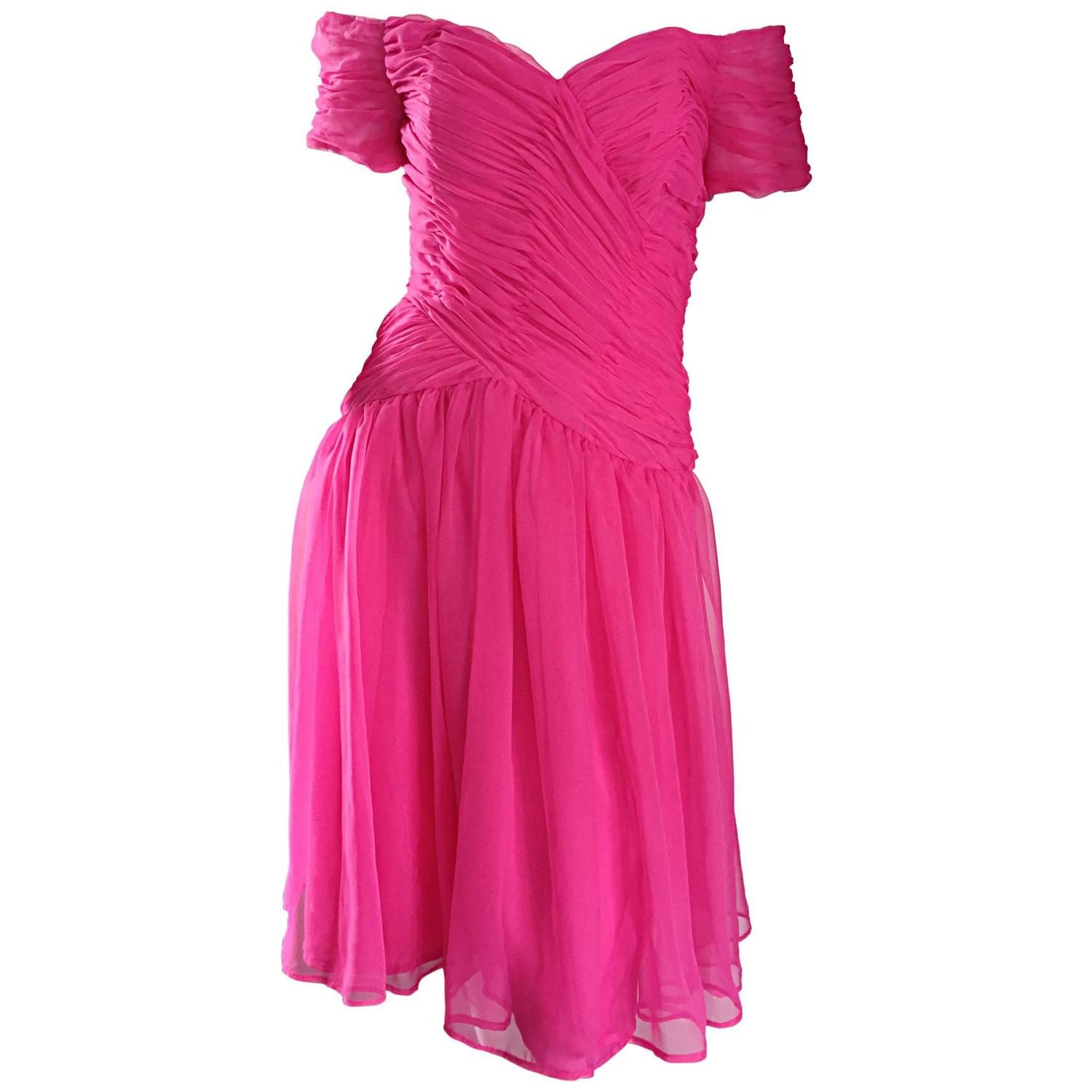 Victor Costa For Bergdorf Goodman Vintage Hot Pink Chiffon Off ...