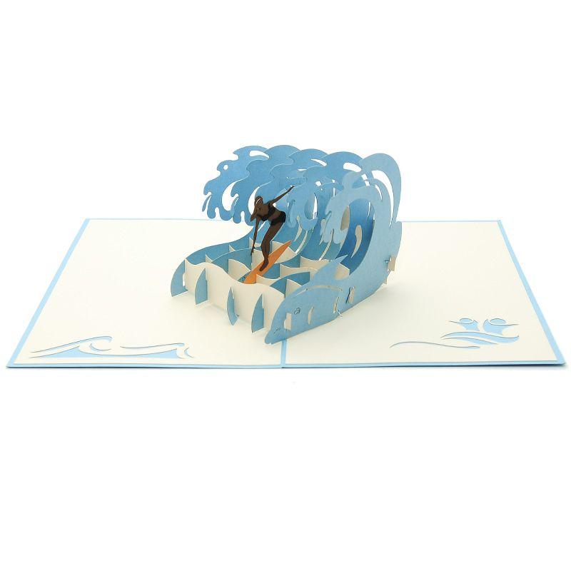 Surf Extreme Girl Pop Up Card Custom Birthday Origami Card Vietnam Manufacturer Fs083 Pop Up Art Origami Cards Diy Pop Up Book