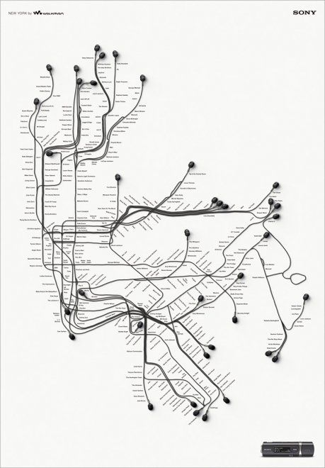 Creative Subway Map.Sony Ear Bud X Metro Map Curious Graphic Projects Advertising