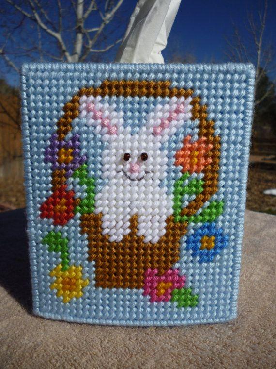 Spring Easter Bunny Rabbit Flowers Basket Tissue Topper