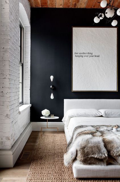 "love the print, ""just another thing hanging over your head""....Industrial Bedroom by Tamara Magel Studio"