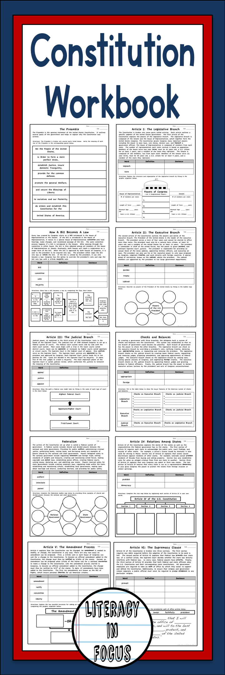 Constitution Worksheets - Constitution Workbook | 8th Grade