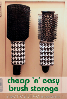 I've been looking at hair dryer, brush and flat iron storage for a door in my bathroom, and they run like 50 bucks.  Yikes!  This looks like a great starting point to making my own.  Maybe painting with heat resistant paint and drilling holes in them so you can screw them into the door?  Hmmm.