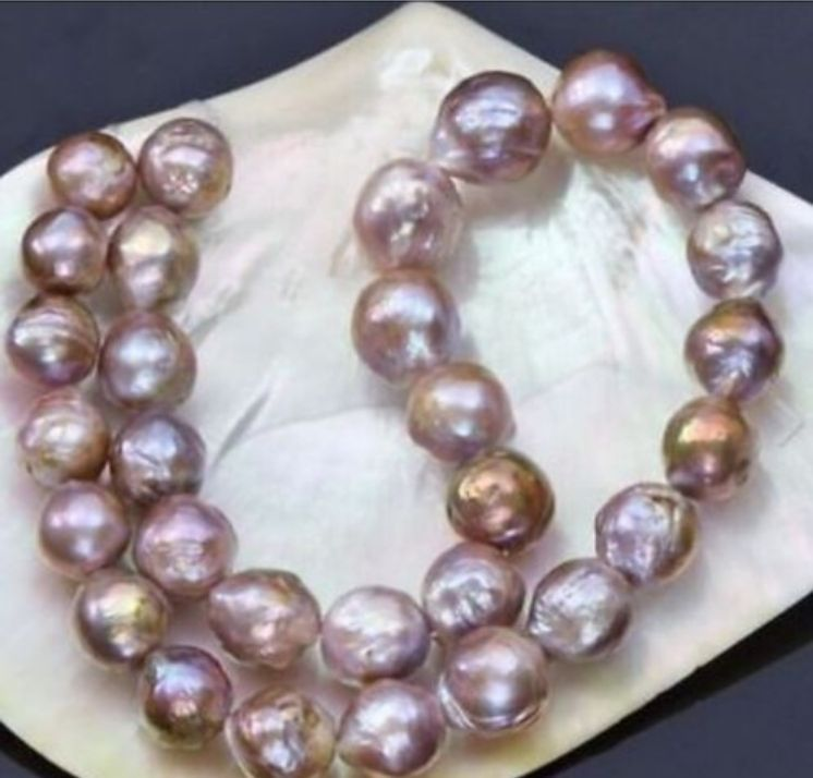 baroque natural 12-15mm south sea multicolor Pearl Bracelet 14k