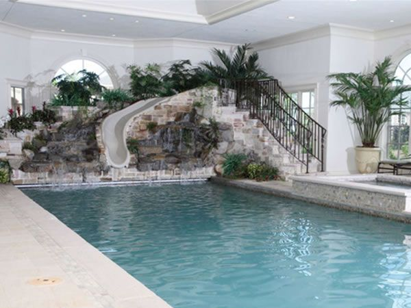 Home indoor pool with slide  Indoor pool w/slide, if im ever rich im putting this in my house ...