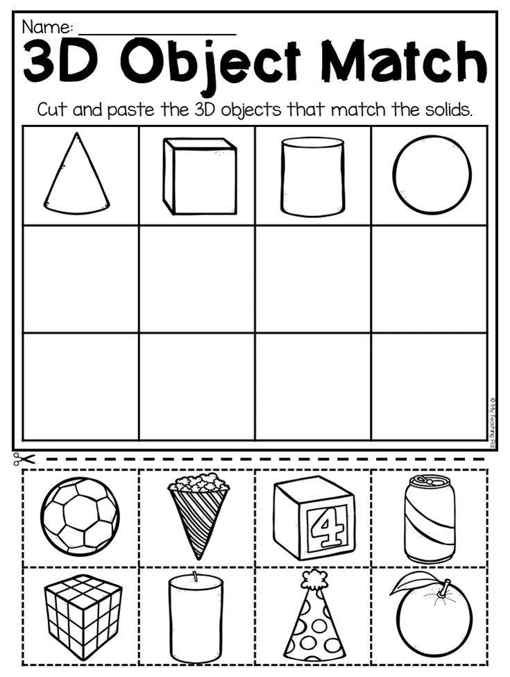 Kindergarten 2D and 3D Shapes Worksheets | kids crafts ...