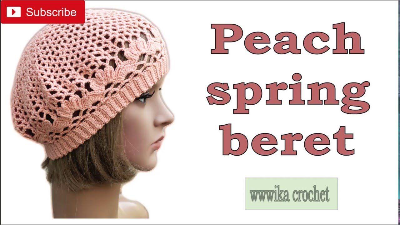 Crochet beret pattern easy Peach spring beret part 2 #crochet_beret ...