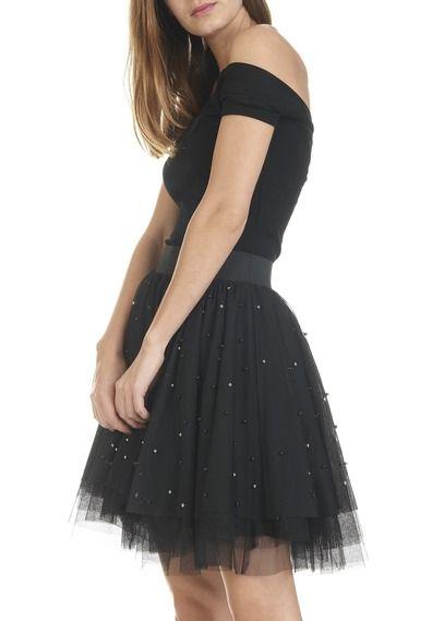 9386089f5e78 Jupe patineuse en tulle et perles Noir by MAJE
