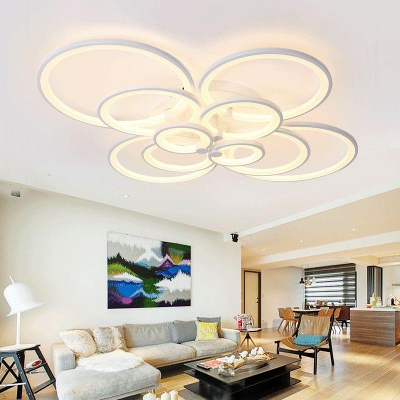 4\/6\/8\/10 Circular Rings White Circle Acrylic Ceiling Lamp Modern - moderne wohnzimmerlampe