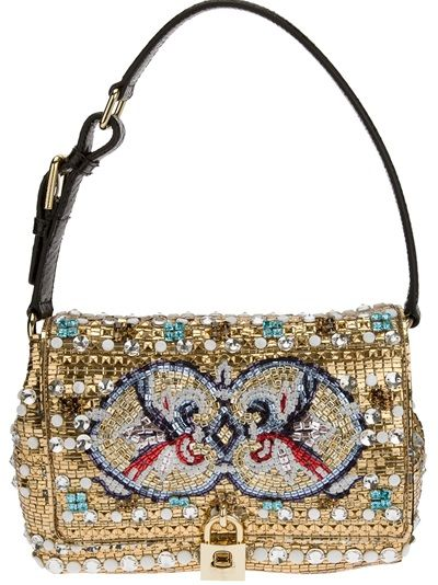 DOLCE and GABBANA Mosaic Beaded Shoulder Bag