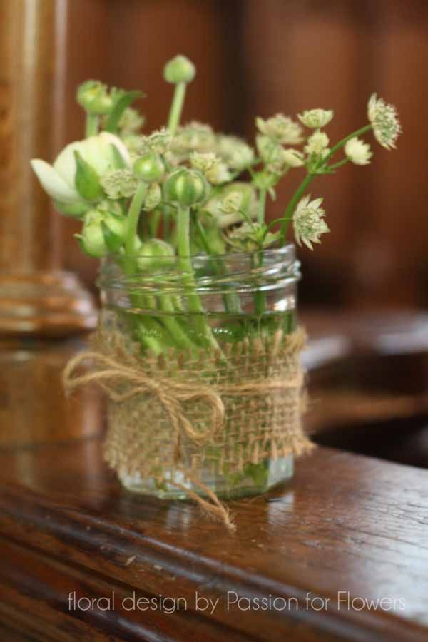 Decorating Jelly Jars Jam Jars With Flowers And Hessian  Decorations  Pinterest