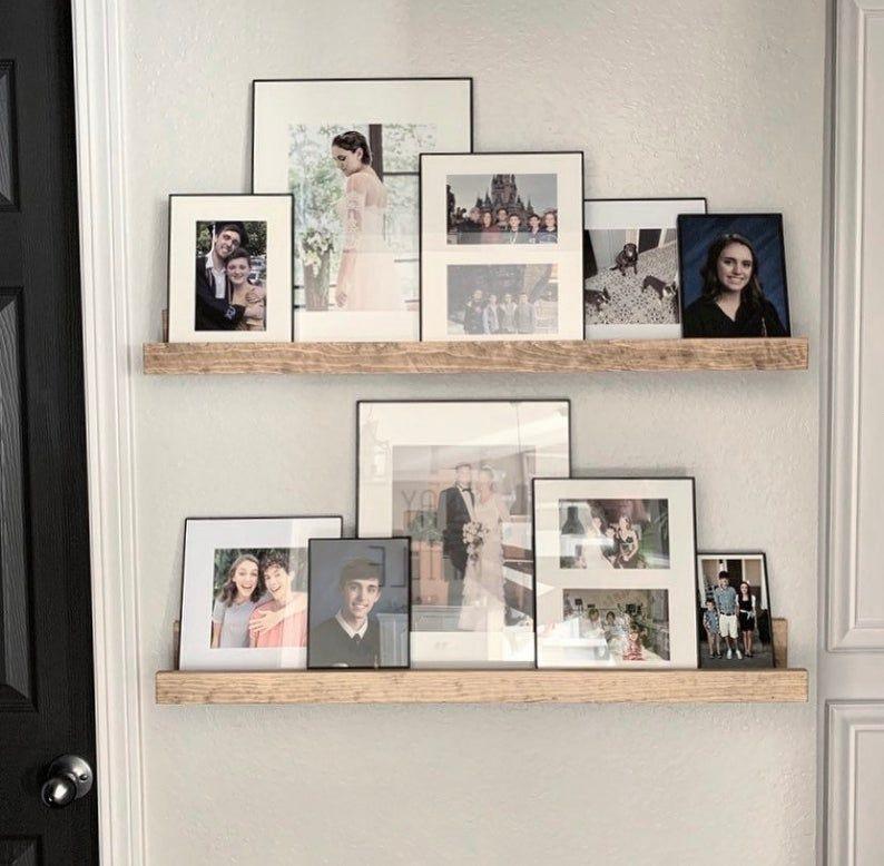 High Back Picture Ledge Wall Shelf Wood Shelves Gallery Etsy In 2020 Picture Shelves Wood Shelves Decor