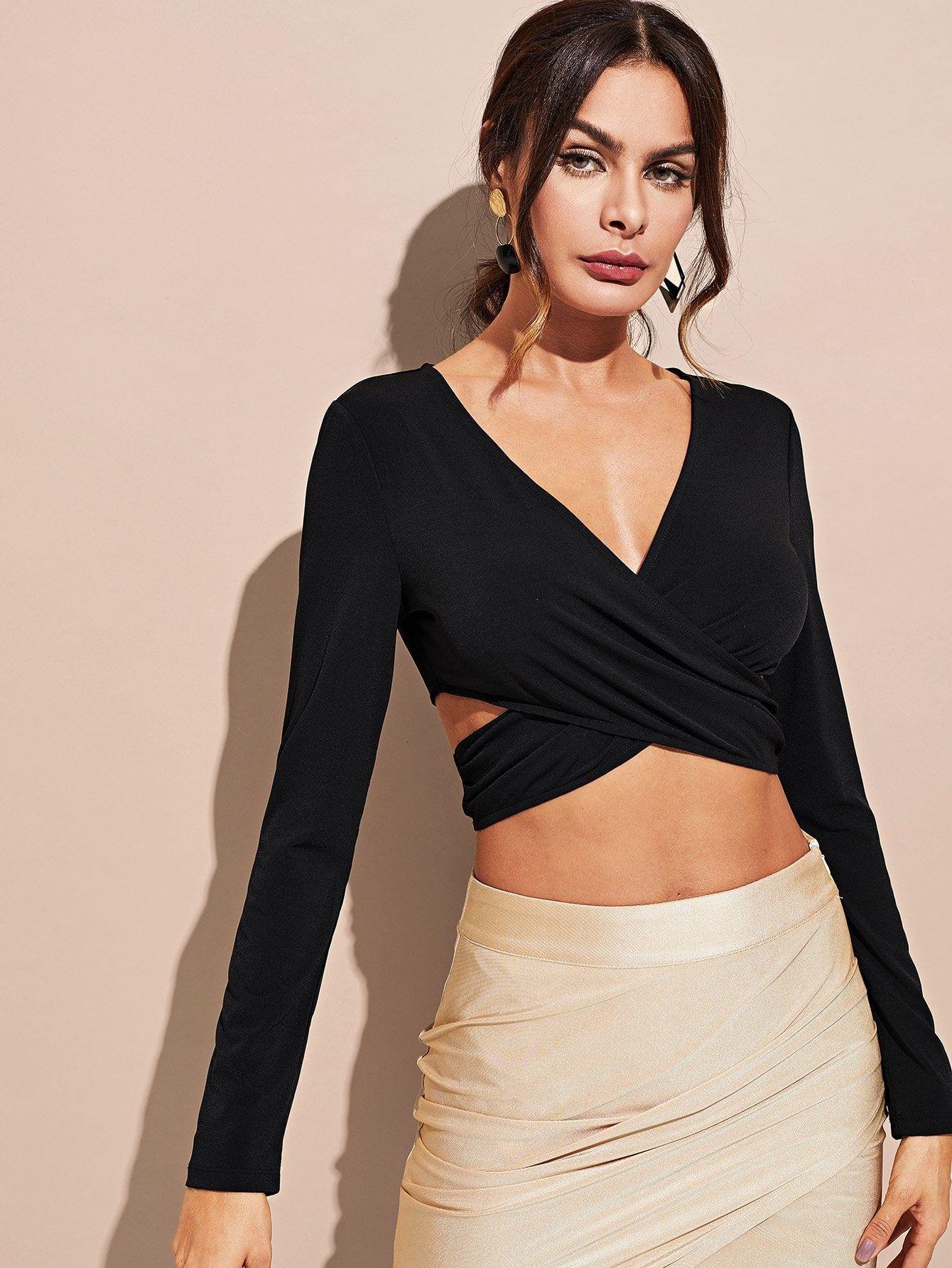 TOPUNDER Long Sleeve Solid Blouse V-Neck Knit Cardigan Women Shirt Bandage Crop Tops