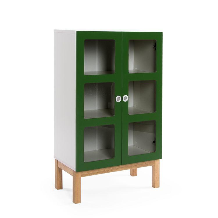 Reader 6 Skap 105 cm, Grønn/Hvit/Ek, Department
