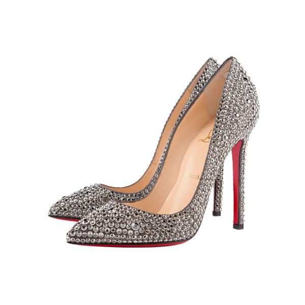 4baa896c71c5 Christian Louboutin Pigalle 120 crystal-embellished suede pumps (13.480  RON) ❤ liked on Polyvore featuring shoes