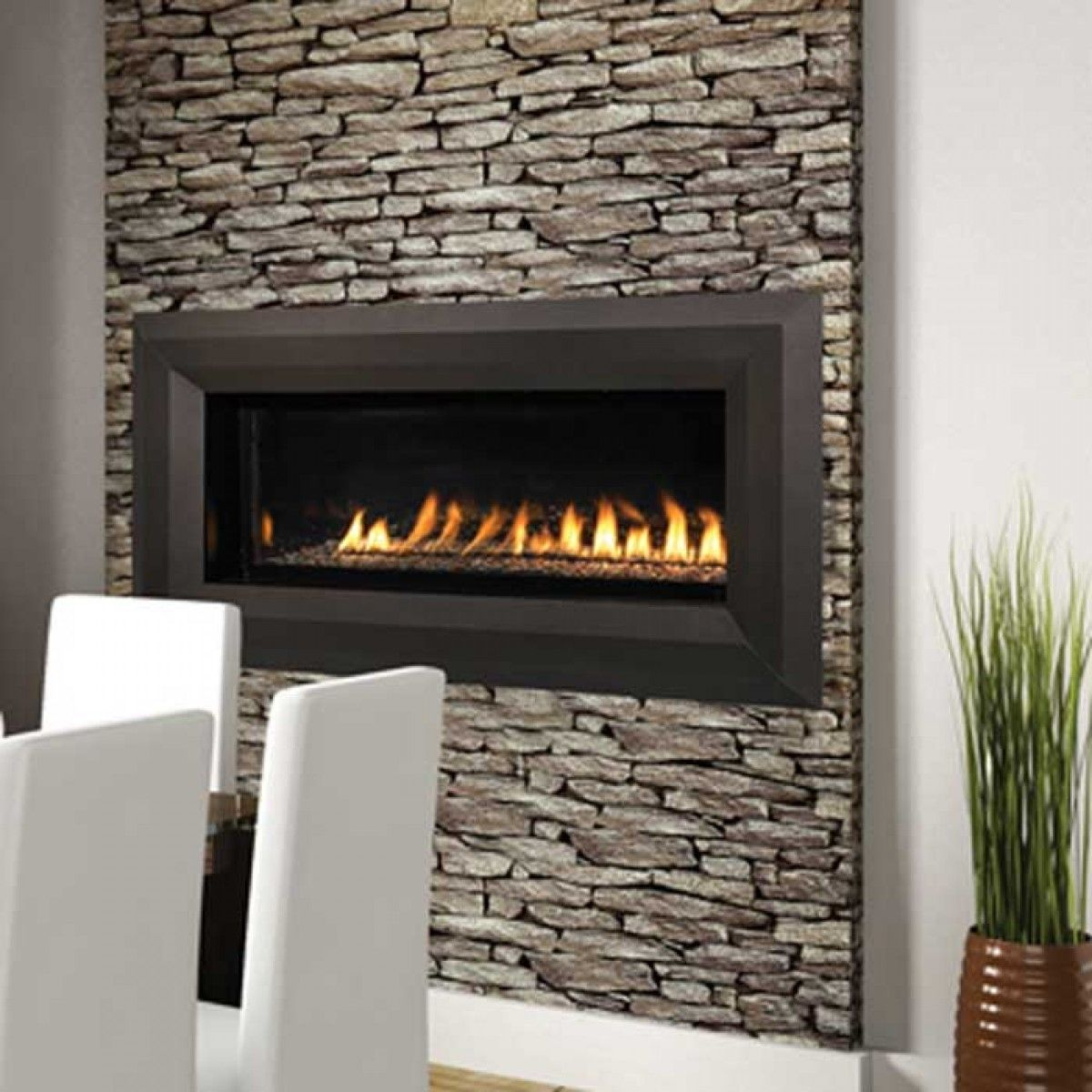 Linear fireplace and Free gas