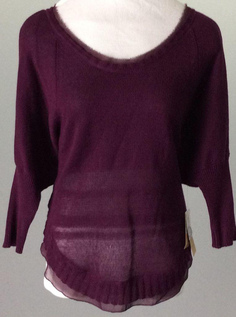 Rachel Rachel Roy Purple Sheer Knit Top, Size: Small - www.15each.co
