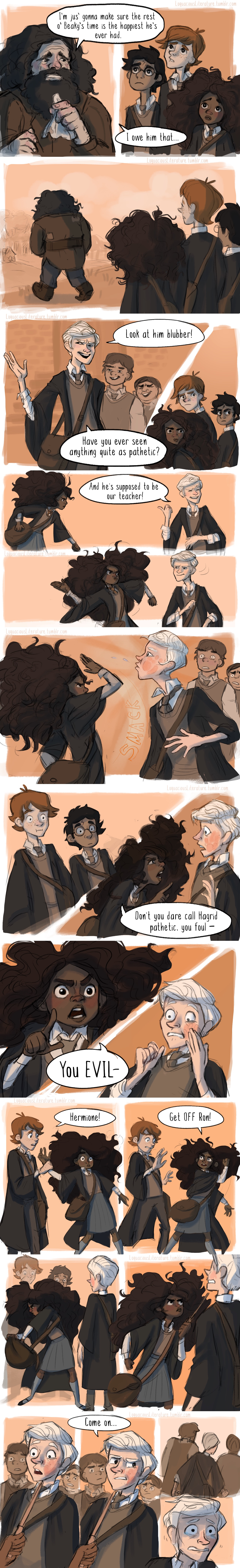 Nobody bad-mouths Hagrid on Hermione's watch! ᕙ( •̀ʖ•́ )୨ (Thank you to lizmaryr and zexionlikesmuffins for suggesting this glorious scene from the Prisoner of Azkaban!)