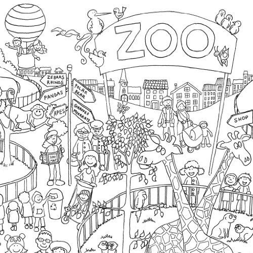 really giant posters zoo colouring in posterjune