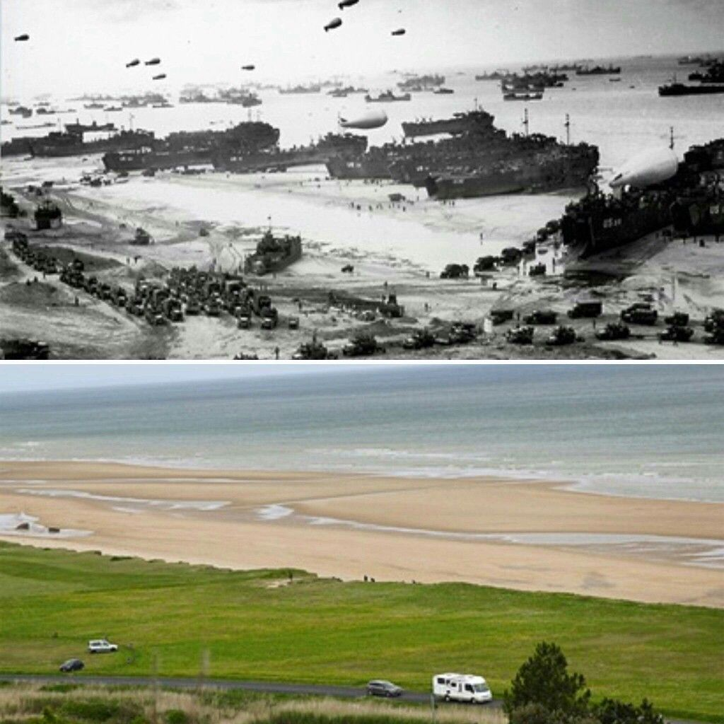 Then and now. Top photo shows Omaha Beach during the DDay