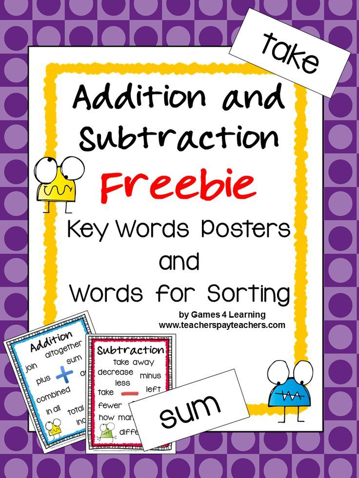 Addition and Subtraction Keywords and Posters Freebie ...