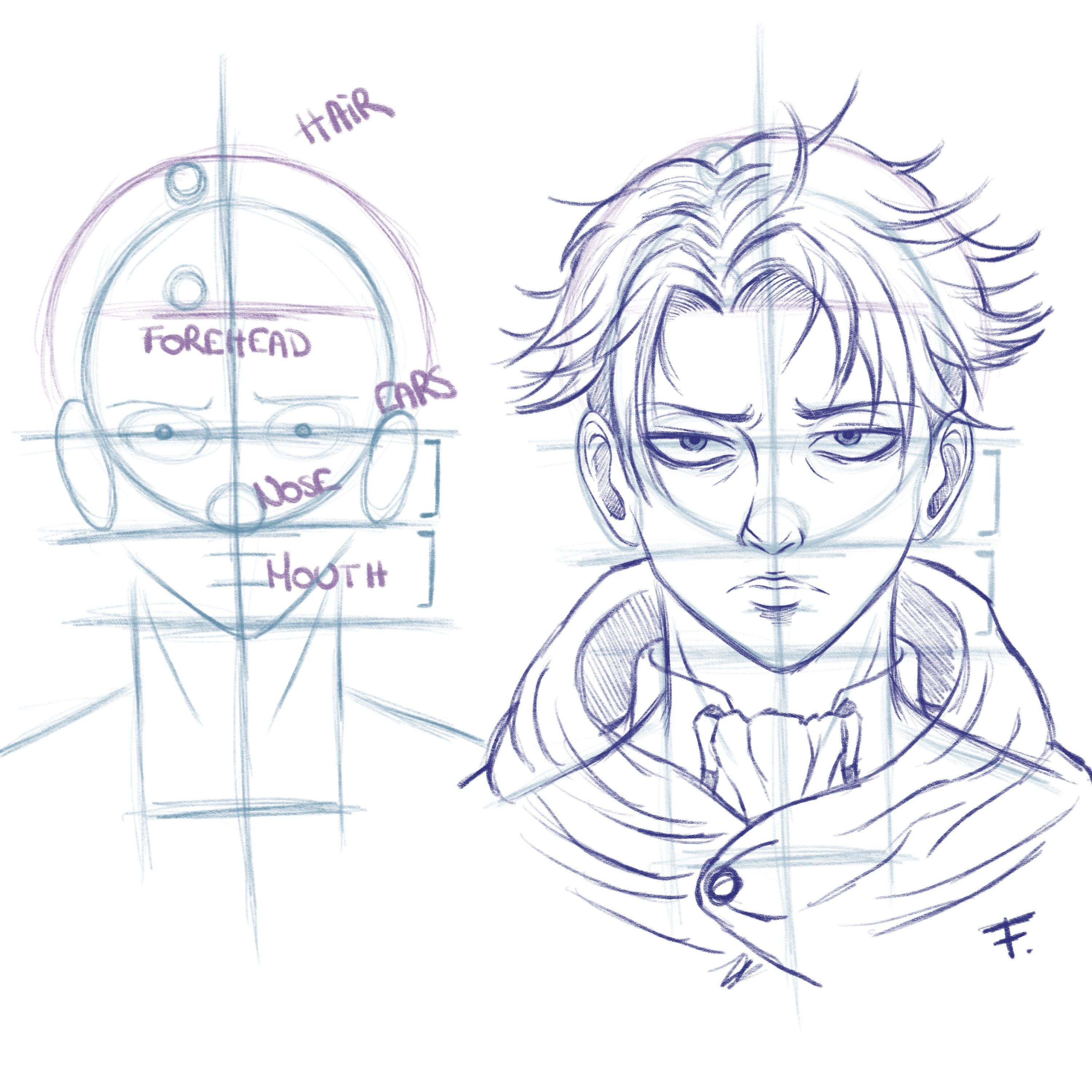 Tutorial Drawing Front View Levi Ackerman X Attack On Titan Anime Face Drawing Male Face Drawing Anime Male Face