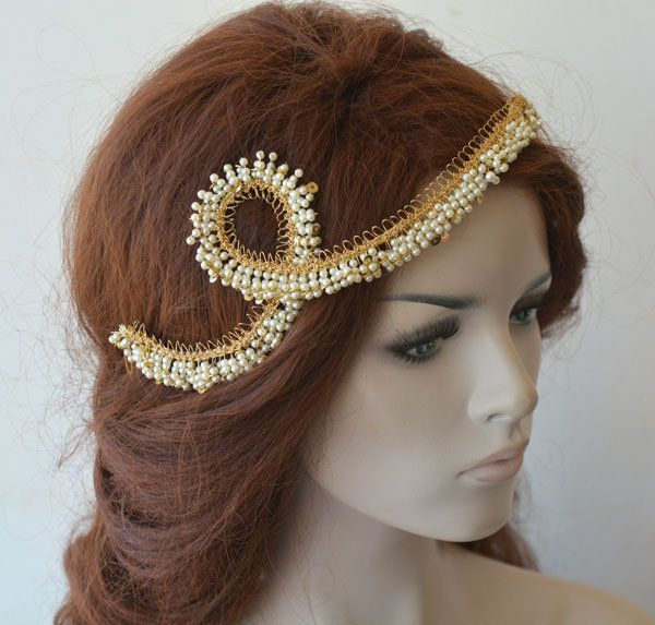 Photo of Gold Wedding Headband, Bridal  Hair Vine, Gold  With Pearl Headpiece for wedding, Vintage Crochet with Wire, Unique Bride, Hair Piece