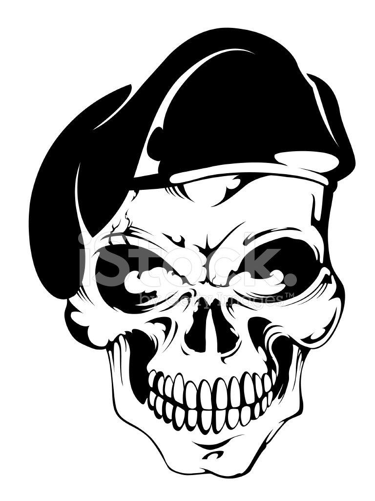 Skull With Beret Stock Photos Freeimagescom Skulls Pinterest