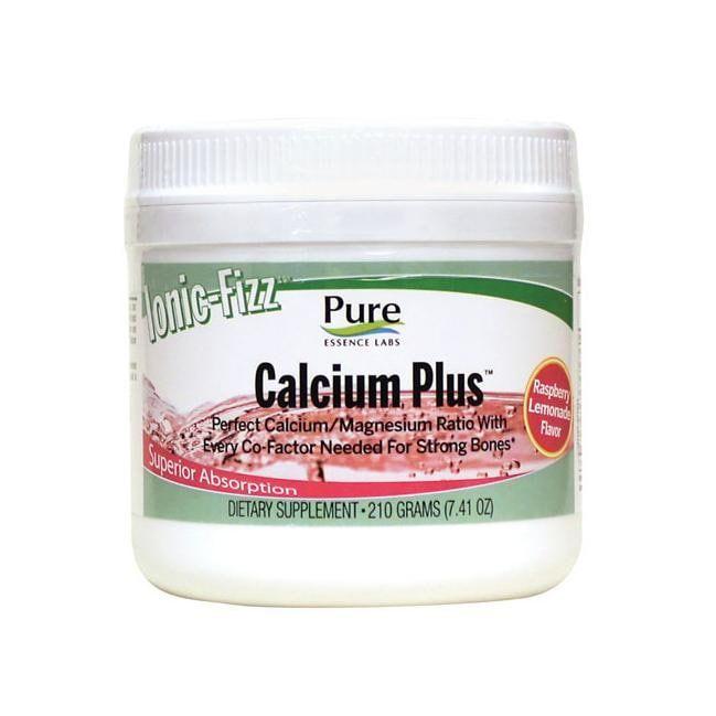 Pure Essence Calcium Plus Ionic Fizz Raspberry Lemonade | 7.41 oz Powder | Bone Health