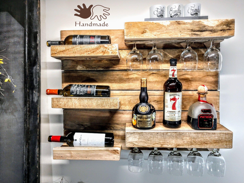 Reclaimed wood wine rack rustic liquor shelf hanging