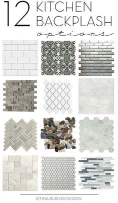How do you choose the perfect kitchen tile backsplash? There are so many decisions. Check out this not-to-be-missed round up of 12 ideal options for the kitchen backsplash. Click over to check them out > http://www.JennaBurger.com