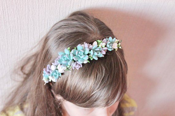 Wedding succulent crown Succulent headband Bridal tiara with succulents bridal halo floral tiara Blue Succulent crown Succulent halo