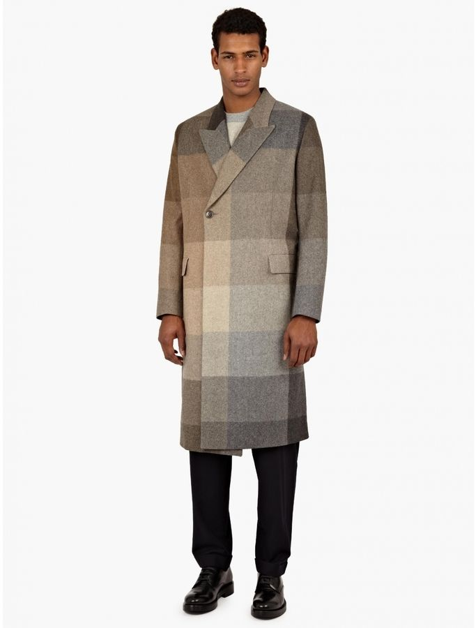 $2,886, Paul Smith Brown Checked Double Breasted Coat. Sold by oki-ni. Click for more info: https://lookastic.com/men/shop_items/333539/redirect