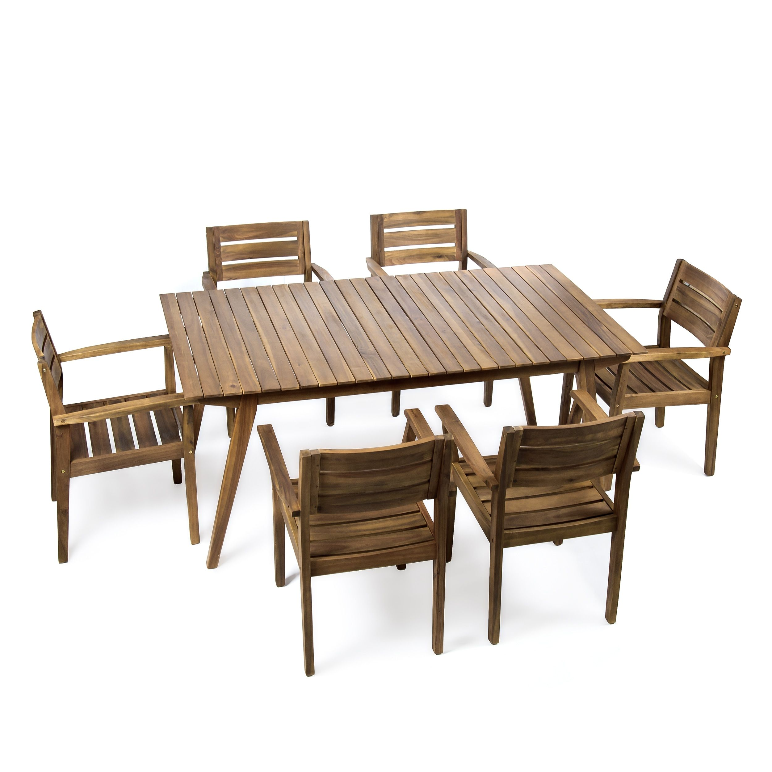 Taiga Outdoor 7 Piece Rectangle Wood Dining Set By Christopher Knight Home Teak Finish Brown Acacia 7 Piece Dining Set Wicker Dining Set Used Outdoor Furniture