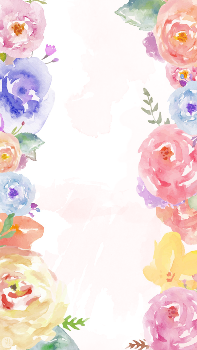 White Pink Lavender Blue Watercolour Floral Flowers Frame Iphone Wallpaper Background Phone Lockscreen