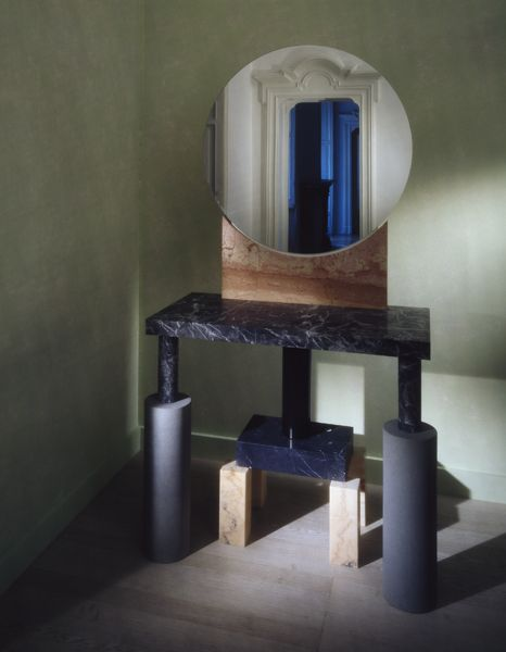 """Ettore Sottsass - Specchio Rotondo -  Side table with mirror in marble and """"serena"""" stone"""