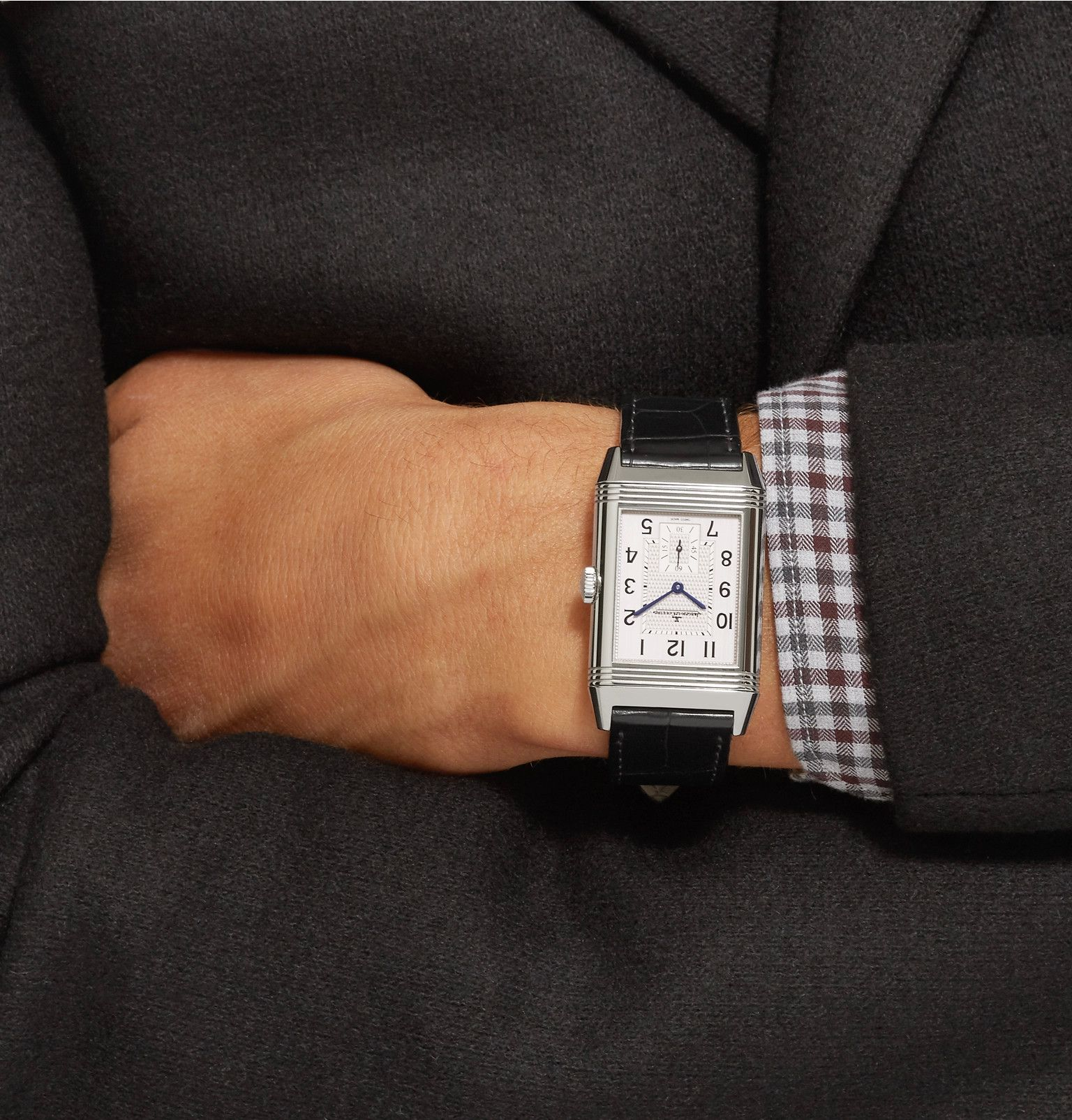 d3dc391f0b4 JAEGER-LECOULTRE Reverso Classic Large Duoface 28mm Stainless Steel And  Leather Watch