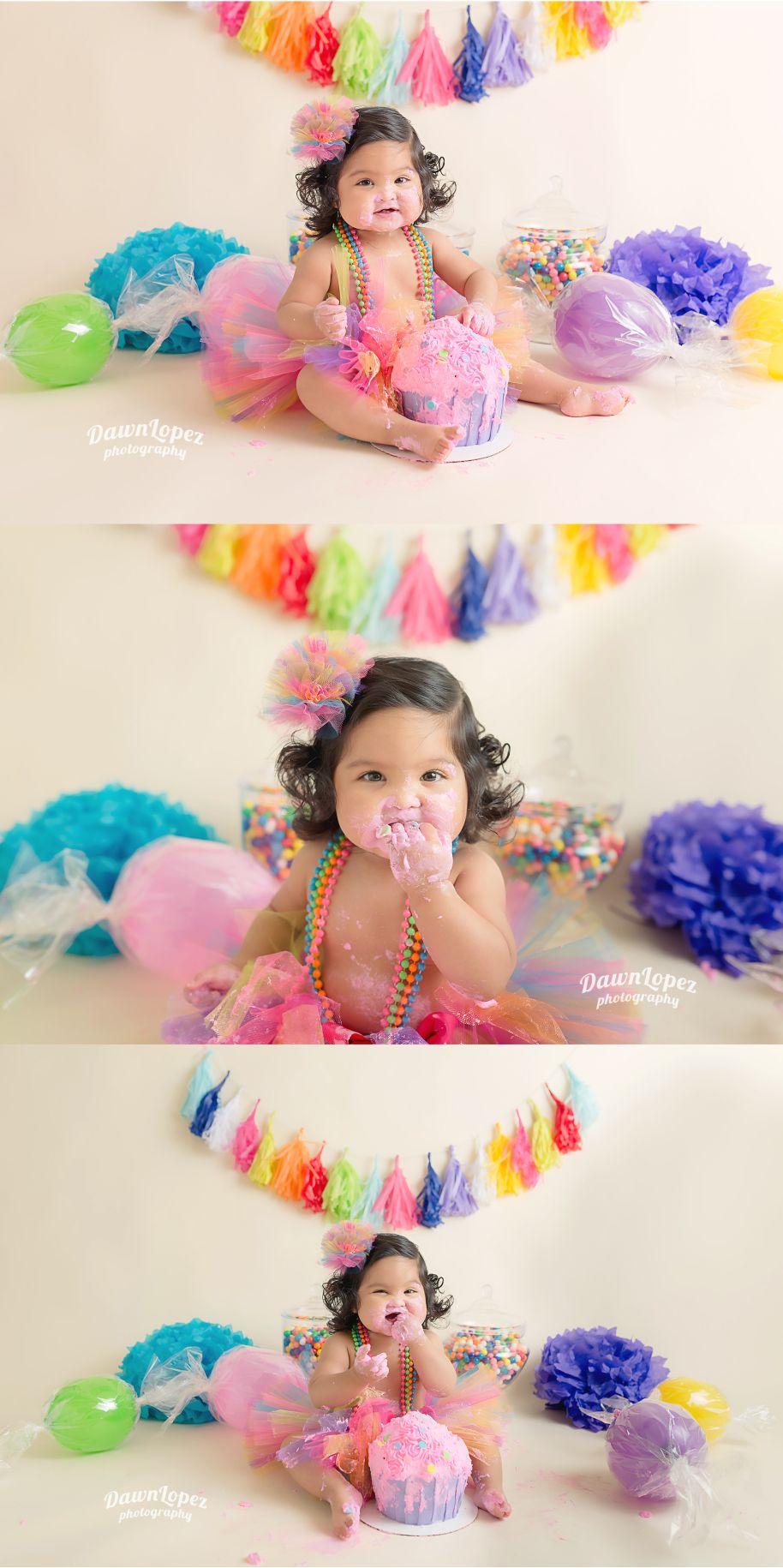 Candyland Smash Cake 1st Birthday Fort Worth Child Photographer