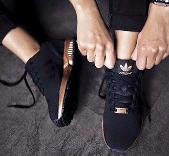shoes adidas adidas originals black gold slimmed tumblr fashion girl  trainers sporty