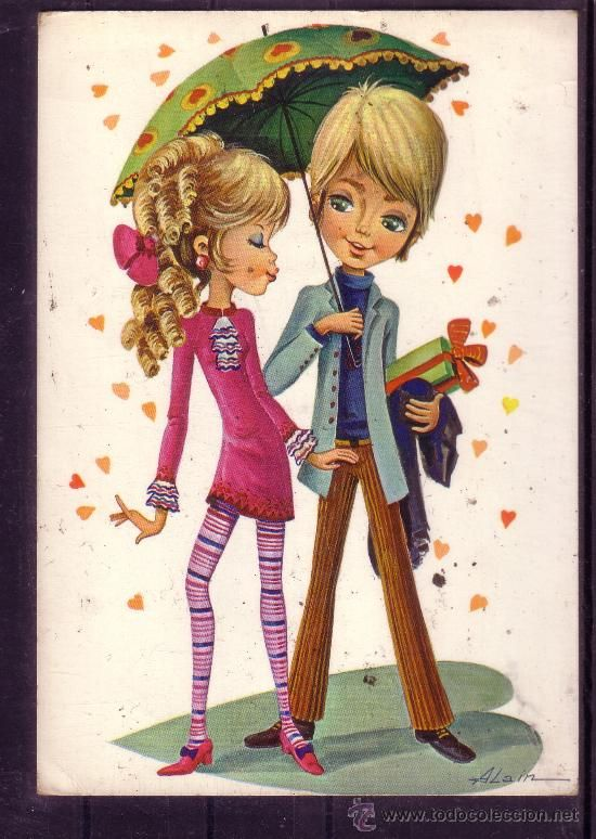 Postal Con Dibujo De Parejitas Felices Romanticas Dibujo De Pareja Postales Antiguas Postales