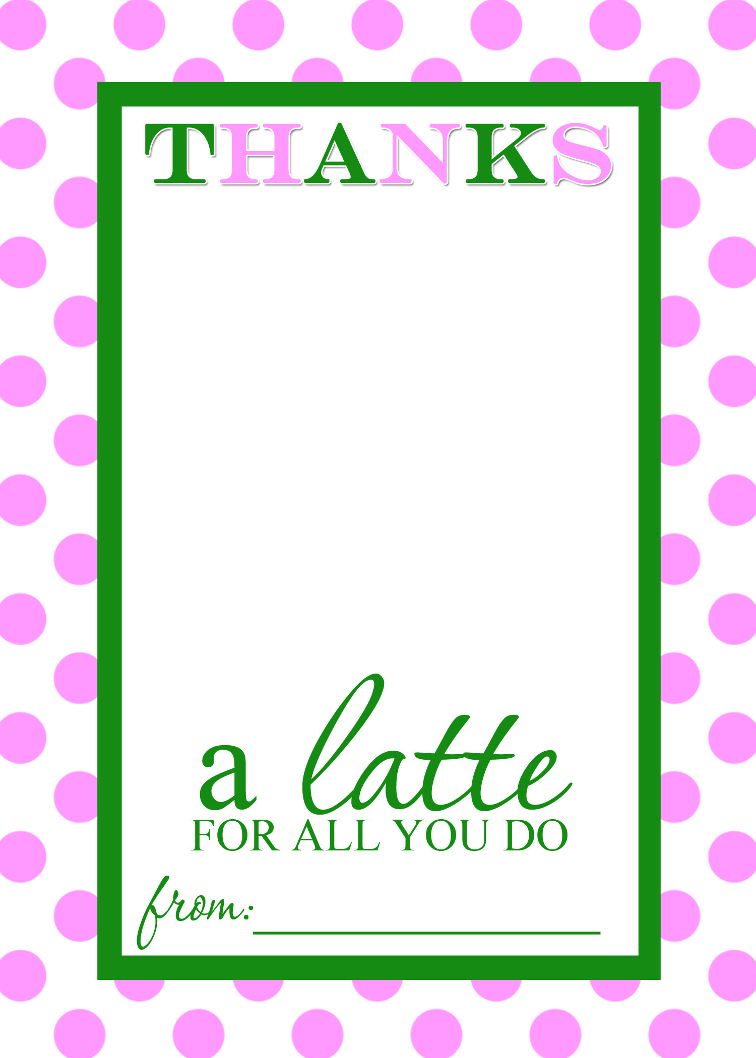 Thanks A Latte Free Printable T Card Holder Teacher