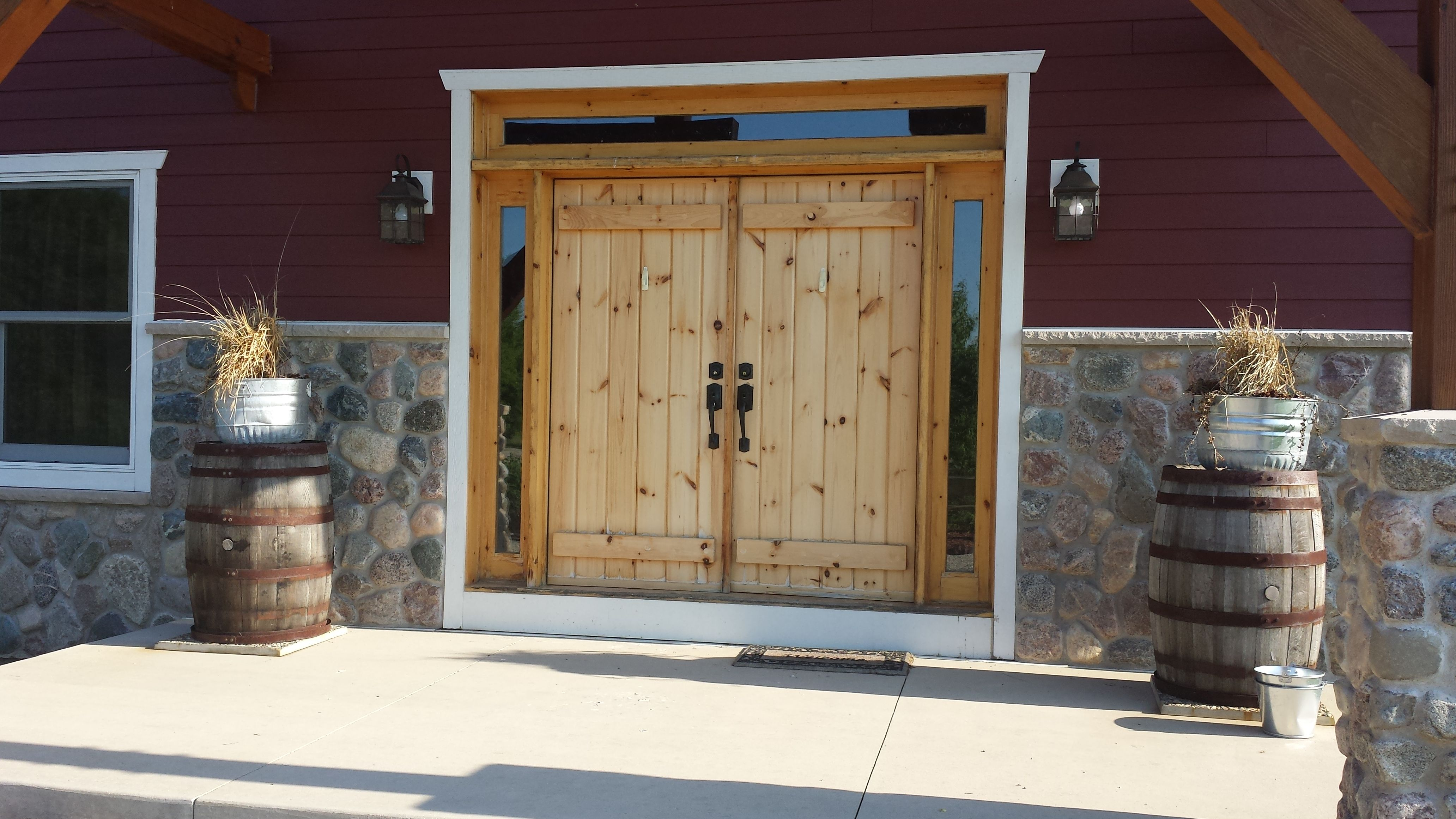Custom Double Stockade Door With Sidelights And Transom Door Units Made To Fit Your Opening Call Today For A Free Quote 518 Exterior Doors Doors Wood Doors