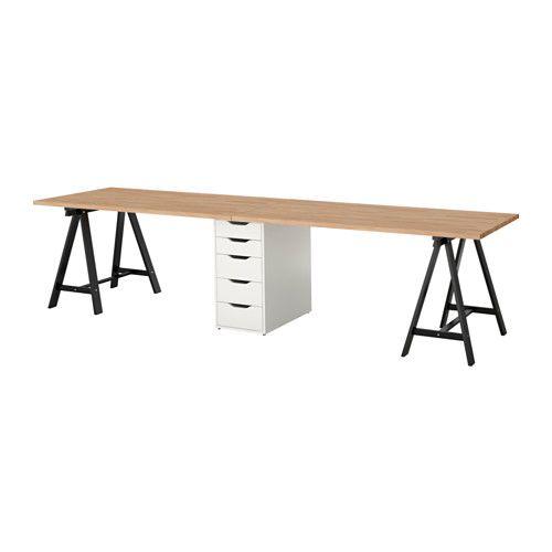 Gerton Table Hêtre Noir Blanc Déco Bureaux Grand