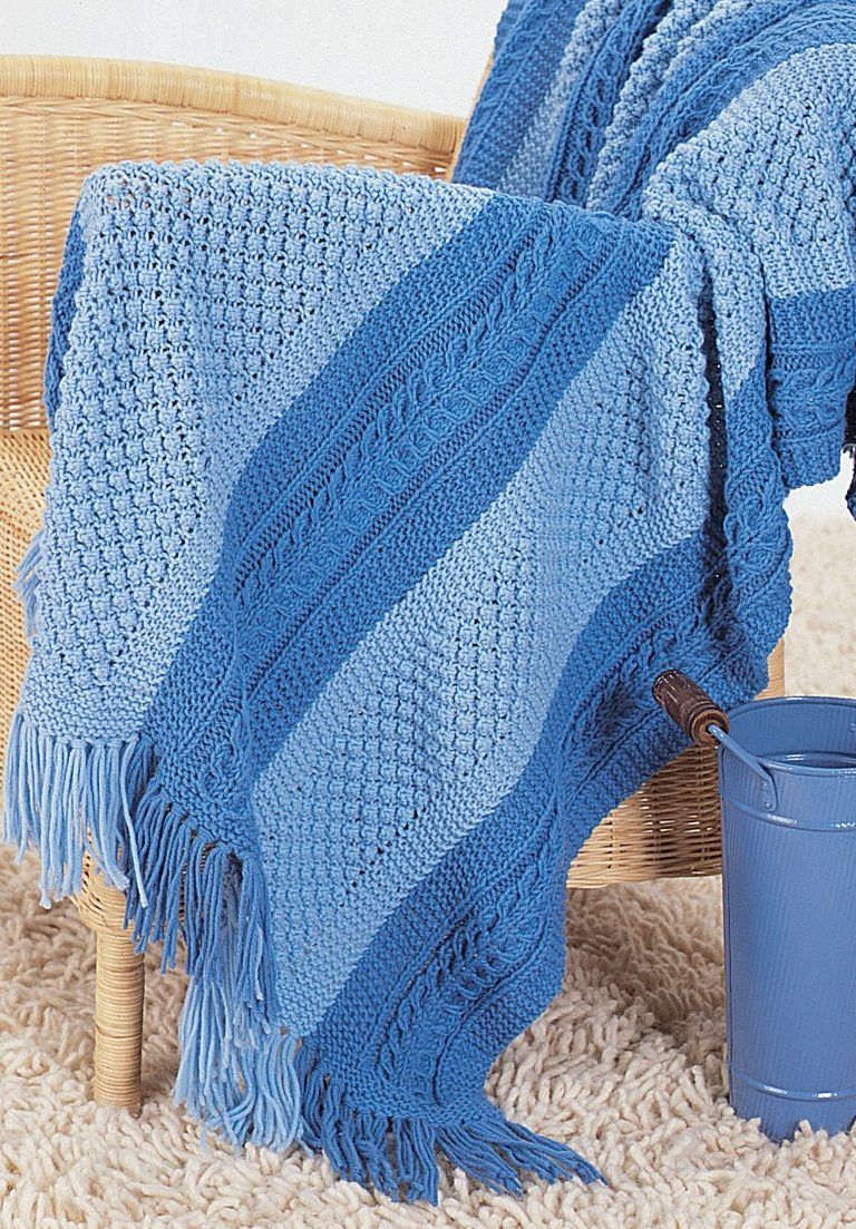 Free Knitting Pattern for Shades of Blue Blanket - Knit in 3 panels ...