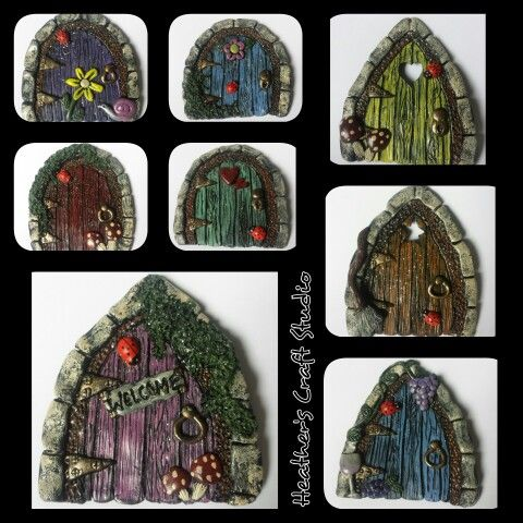 Faerie Door Galore! by Heather\u0027s Craft Studio using polymer clay and acrylic paints.  sc 1 st  Pinterest & Faerie Door Galore! by Heather\u0027s Craft Studio using polymer clay and ...