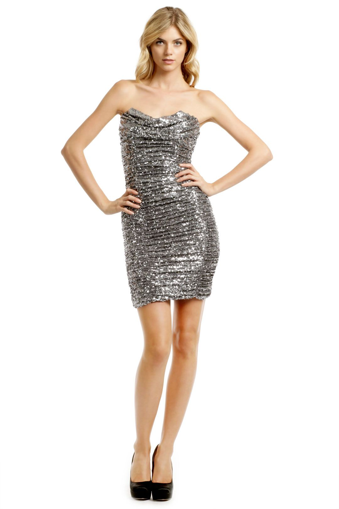 Silver Sequin Cocktail Dress rent the runway don't know
