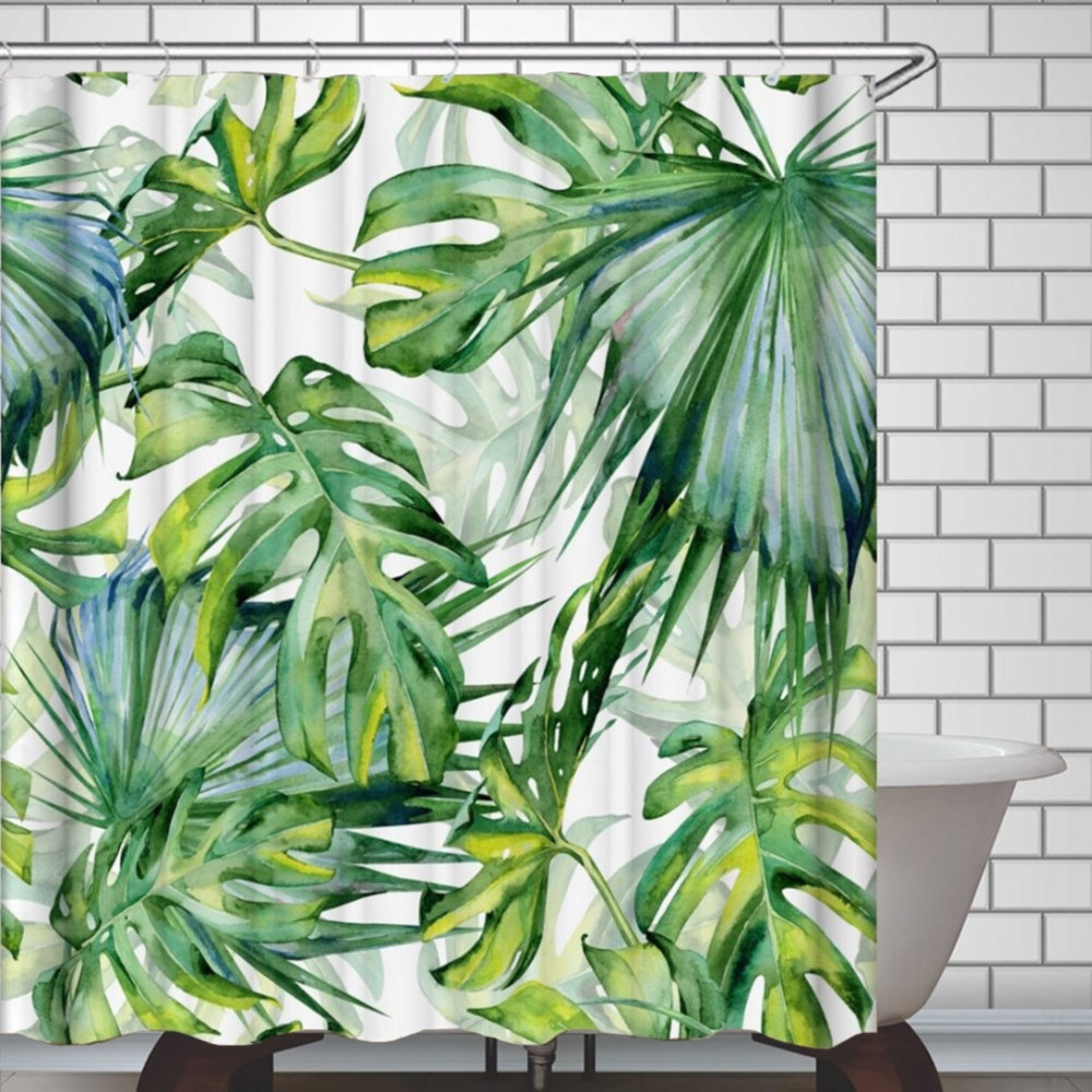 Tropical Shower Curtain Plants Green Leaves Botanical Shower